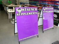 Staunch Suppliments sandwich board signs Brisbane